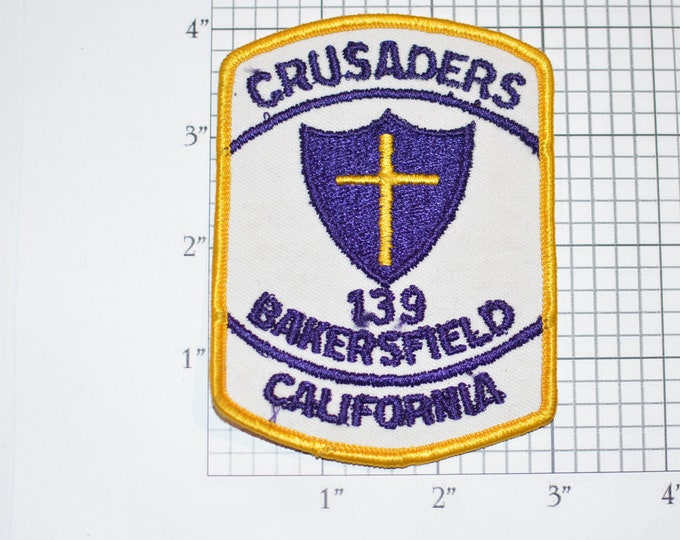 Crusaders 139 Bakersfield California CA Sew-on Vintage Embroidered Clothing Patch Emblem Crest Collectible Memento Keepsake
