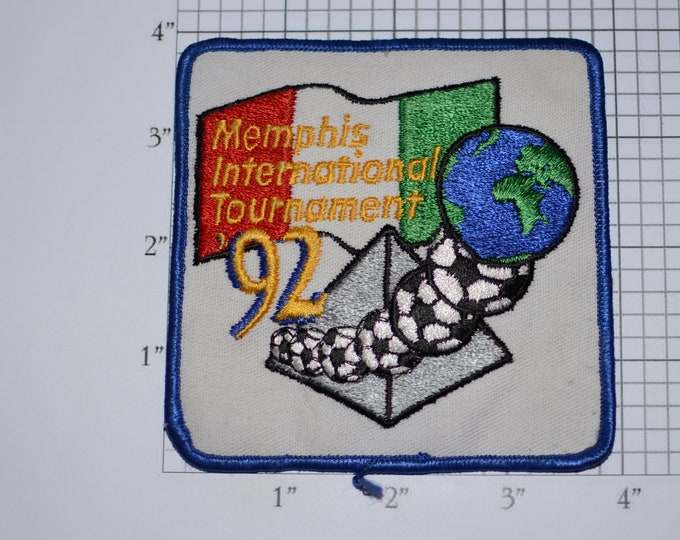 Memphis (Tennessee TN) International Tournament 92 (1992) Iron-on Embroidered Clothing Patch Sports Jacket Vest Jersey Shirt Hat Logo Soccer