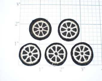 Lot of 5 Wheel Sew-On Vintage Appliqué Patches Jacket Patch Doll Patch Vest Patch Hat Patch Shirt Patch Police Patch Motorcycle Patch ap4