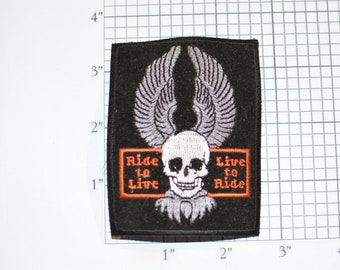 Rive to Live to Ride Vintage Iron-On Biker Patch Skull Wings 1%er MC Intimidating Jacket Vest Patch Moto