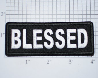 Blessed Iron-On (or Sew On) Embroidered Clothing Patch for Biker Jacket Vest MC Hat Motorcycle Rider Jesus Christ Christian Religious Faith