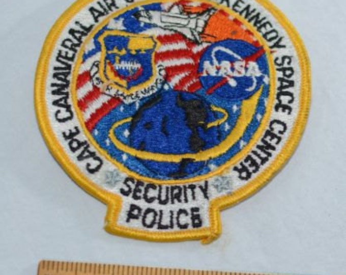 Cape Canaveral Air Station Kennedy Space Center Security Police 45th Space Wing NASA RARE Iron-On Vintage Embroidered Patch Collectible s19