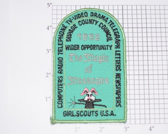 "Girl Scouts Dupage County Council 1992 ""The Magic of Messages"" Emblem Iron-on Embroidered Clothing Vintage Patch Collectible Badge Keepsake"