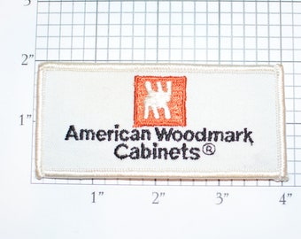 American Woodmark Cabinets Iron-On Vintage Embroidered Clothing Patch for Employee Uniform Shirt Jacket Emblem Logo Work Shirt