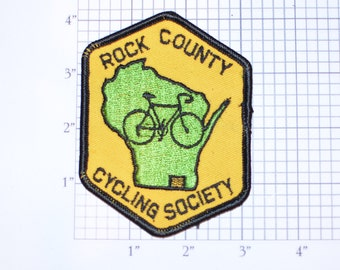 Rock County (Wisconsin) Cycling Society Bicycle Rider Vintage Sew-on Embroidered Clothing Patch Cycling Keepsake Memento Badge