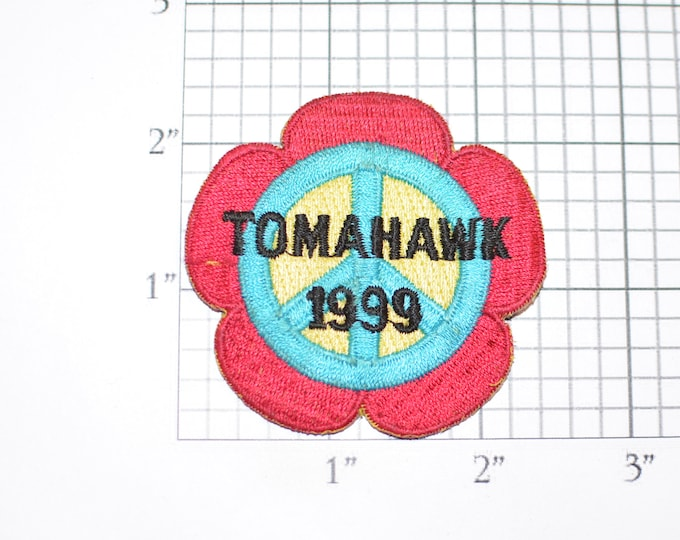 Tomahawk 1999 Peace Sign Vintage Embroidered Iron-on Clothing Applique Patch Retro Throwback Sewing Notion Emblem Logo Insignia