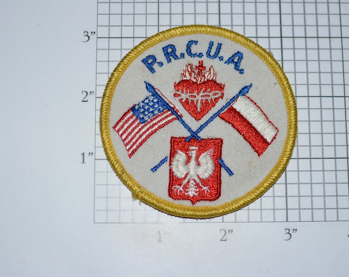 P.R.C.U.A. (Polish Roman Catholic Union of America) Vintage Embroidered Clothing Patch (Dingy/Dirty) Religious Collectible Emblem Crest