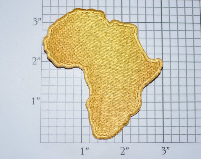 Africa Gold Map Outline Iron-on Embroidered Clothing Patch African Ethnic Pride Emblem for Shirt Jeans Jacket Backpack Luggage Tourist Gift