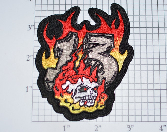 Skull Flames Number 13 Iron-On Embroidered Patch Outlaw Biker Jacket Vest 1%er Intimidating Scary Death Lucky Unlucky Superstition e32Q