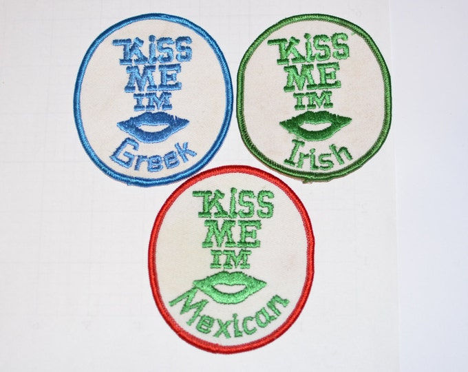 Kiss Me I'm Greek Irish Mexican - Flirty Vintage Iron-on Patches - Ethnic Pride Diversity Jacket Patch Vest Patch Backpack Patch Jeans e20i