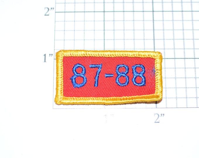 87-88 (1987 1988) Small Sew-On Vintage Embroidered Clothing Patch Rocker Tab Jacket Vest Shirt Uniform  Milestone Anniversary Birthday Year