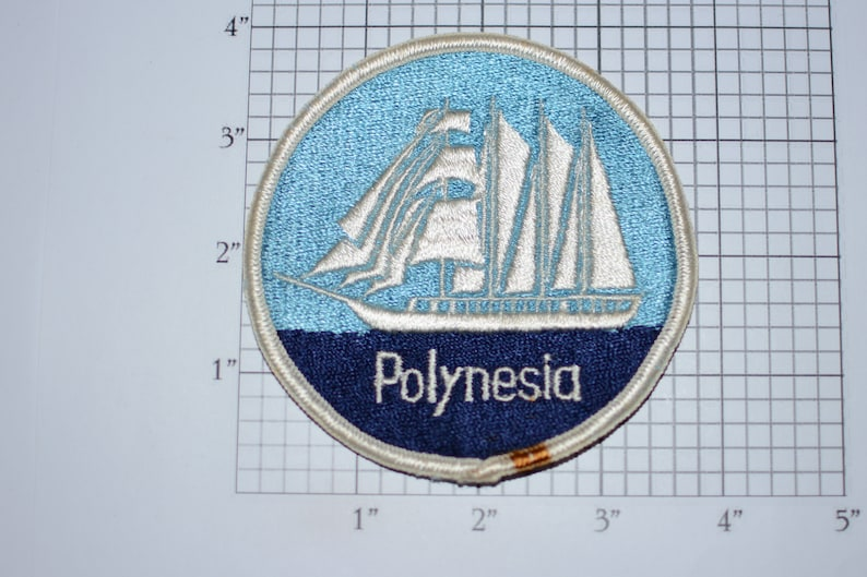 Polynesia Sailboat Boat Ship Logo Slight Border Stain Vintage Embroidered Sew-on Travel Patch Trip Tourist Souvenir Crest Oceania Islands