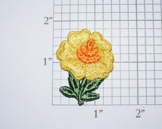 Yellow Flower Vintage Sew-on Embroidered Clothing Patch Applique for Craft Project Jacket Shirt Dress Hat Girl Clothes Hole Repair Cover Up