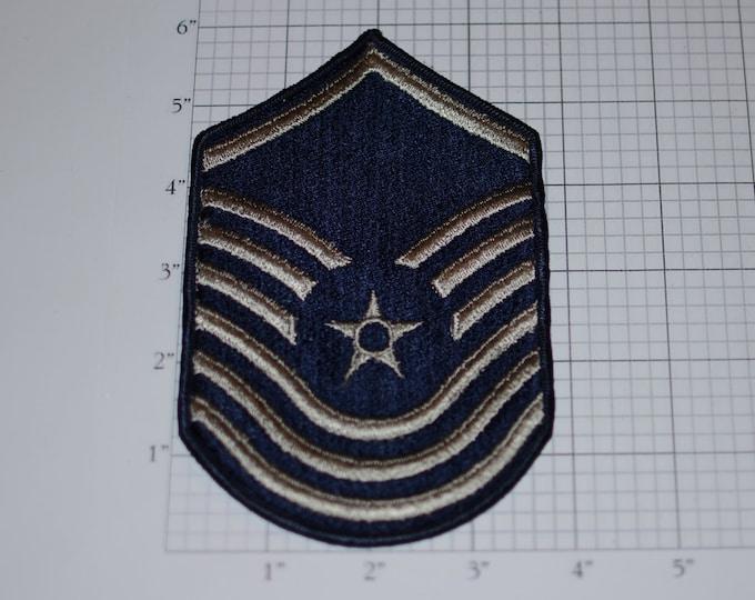USAF Senior Master Sergeant Rank Old/Obsolete Insignia E-8 Pay Grade 1970s Vintage Embroidered Uniform Patch Emblem Military Retiree Memento