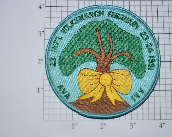 23 International Volksmarch February 1991 American Volkssport Association AVA IVV Sew-On Embroidered Clothing Patch Event Keepsake Emblem