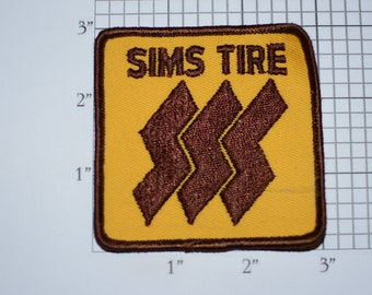 SIMS TIRE Sew-On Authentic Vintage Embroidered Clothing Patch for Uniform Jacket Vest Racing Team Tyre Mechanic Workshirt Logo Emblem Cars