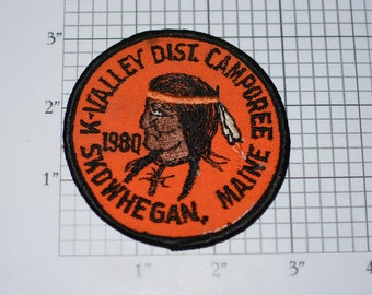 K-Valley District Camporee Skowhegan Maine Native American Emblem 1980 Vintage Embroidered Sew-on Patch Boy Scouts BSA Scouting Memorabilia
