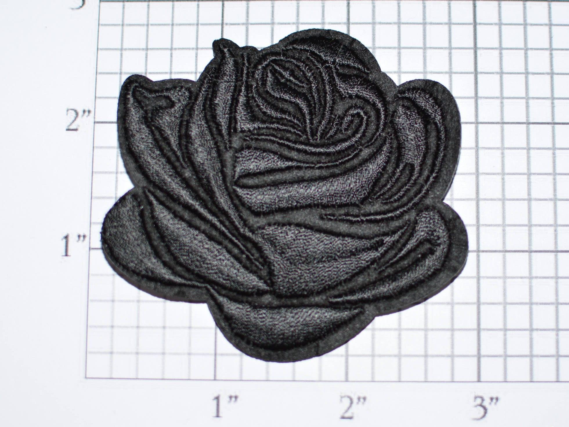 Beautiful black rose iron on embroidered biker diy clothing etsy zoom izmirmasajfo