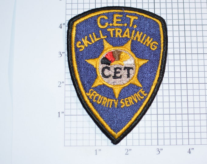 C.E.T. Skill Training Security Service Iron-On Vintage Embroidered Uniform Shoulder Patch for Jacket Vest Shirt Guard Home Patrol e31d