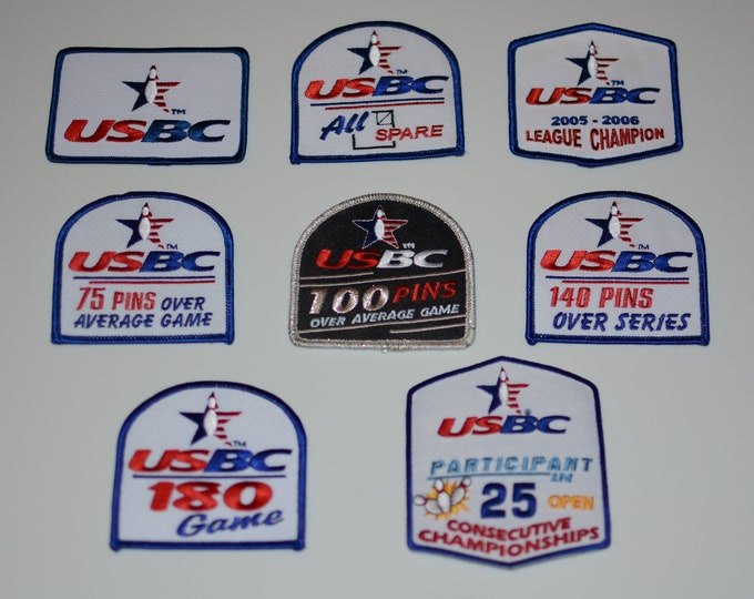 USBC (US Bowling Congress) Iron-on Embroidered Clothing Patch Bowler Achievement Award Badge Memento Keepsake Gift Collectible Logo Insignia