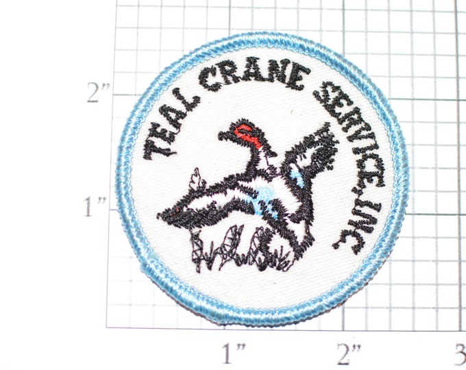 Teal Crane Service Inc. Sew-On Vintage Embroidered Clothing Patch for Employee Uniform Shirt Jacket Emblem Collectible Crest