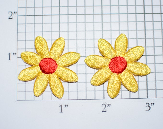 Pair of Flower Iron-on Patch Appliqués (2 piece lot) Yellow and Red Cute Adorable Perfect for Dolls Cards DIY Fashion Embellishment Crafting