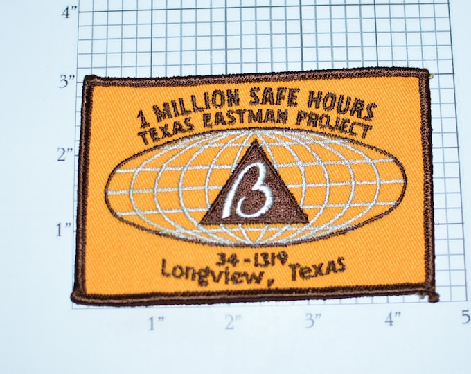 1 Million Safe Hours Texas Eastman Project 34-1319 Safety Award Sew-on Vintage Embroidered Patch Longview TX Kodak Chemical Company Logo