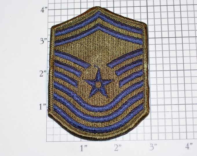 USAF Chief Master Sergeant Rank Old/Obsolete Insignia E-9 Pay Grade 1970's Vintage Embroidered Uniform Patch Emblem Military Retiree Memento