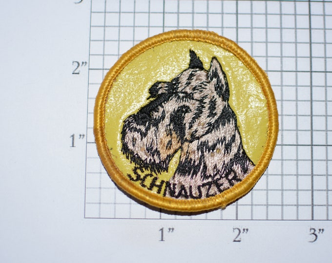 SCHNAUZER Vintage Sew-on Embroidered Clothing Patch (Dirty/Dingy) Applique Dog Lover Gift Idea Canine Pet Vest Shirt Backpack Jeans Keepsake