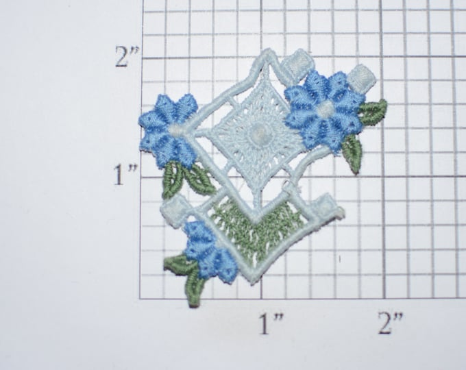Blue Flowers Lacey Delicate Vintage Sew-on Embroidered Clothing Patch Applique for Craft Project Jacket Shirt Dress Hat Girl Clothes Accent