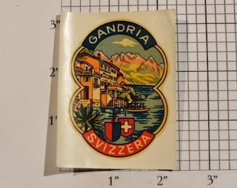 Svizzera (Switzerland) Gandria Vintage Sticker Decal Trip Travel Souvenir Traveler Scrapbook Shadowbox Keepsake Memento Tourist
