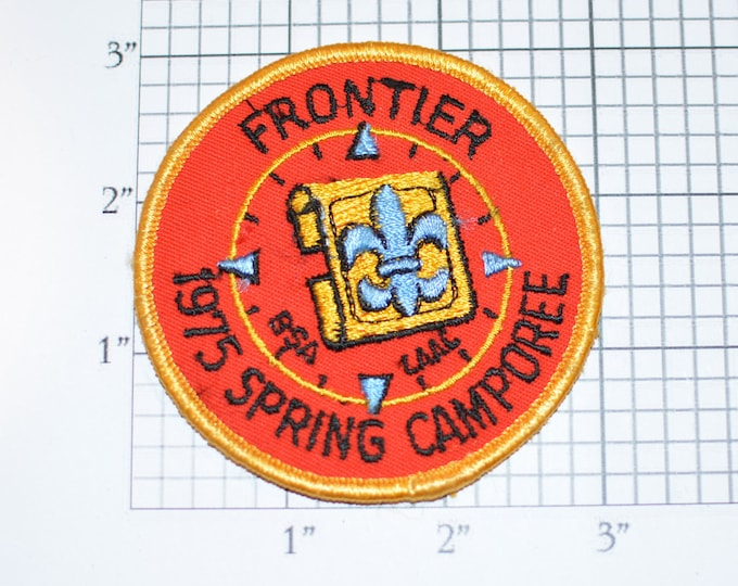 Frontier 1975 Spring Camporee LAAC BSA Sew-On Vintage Embroidered Clothing Patch Uniform Shirt Jacket Keepsake Memorabilia Badge Scouting