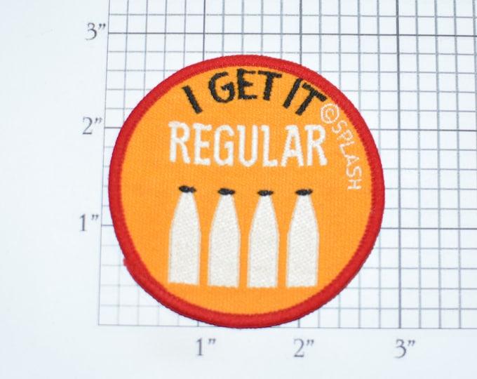 I Get It Regular Milk Bottles Sew-on Vintage Embroidered Clothing Patch for Jacket Vest Backpack Shirt Hat Jeans Hoodie Fun Humorous Emblem
