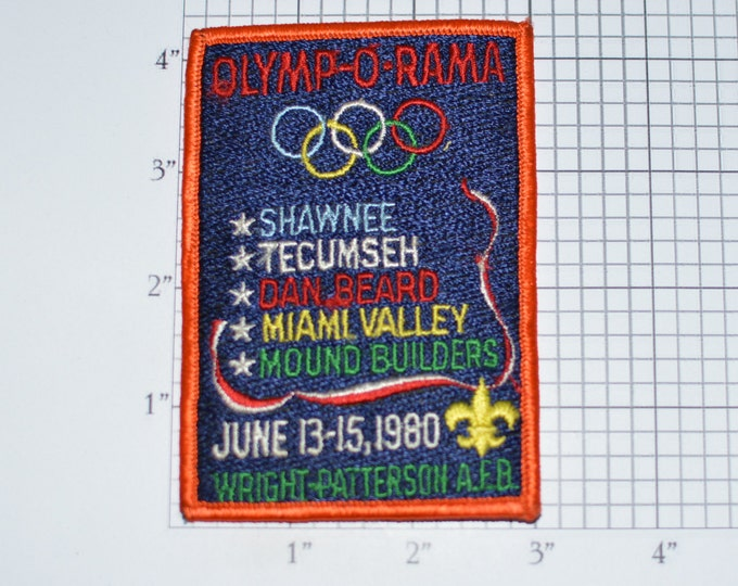 Olymp-O-Rama BSA Sew-On 1980 Vintage Embroidered Patch Shawnee Tecumseh Dan Beard Miami Valley Mound Builders Wright Patterson AFB