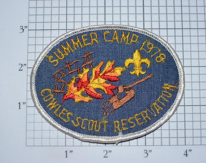 Summer Camp 1978 Cowles Scout Reservation BSA Sew-On Vintage Embroidered Clothing Patch Uniform Shirt Jacket Badge Keepsake Memorabilia