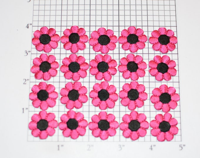 Flower Iron-on Patch Appliqué Lot (20 pieces) Pink / Black Small Adorable Perfect for Dolls, Cards, Embellishment DIY Clothing Fun Crafts