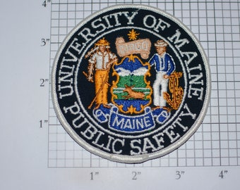 University of Maine Public Safety Iron-On Vintage Embroidered Clothing Patch Police Peace Officer Uniform Shoulder Crest Collectible Emblem
