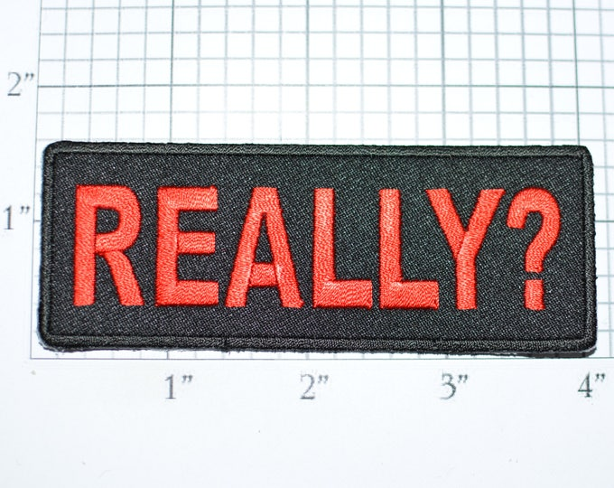 REALLY? Iron-On Embroidered Clothing Patch for Shirt Jacket Vest Hat Backpack Jeans Purse Funny Novelty Badge Emblem DIY Clothes Craft t03e
