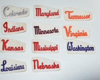 US States Iron-On Vintage Patches Colorado Indiana Kansas Louisiana Maryland Minnesota Mississippi Nebraska Tennessee Virginia Washington s8