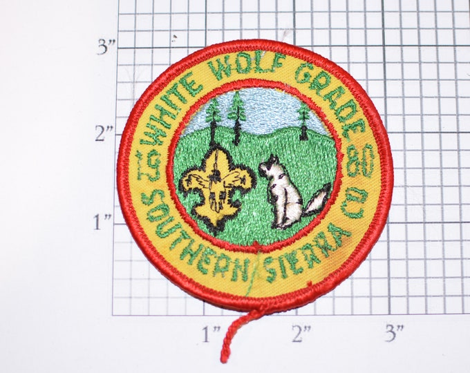 White Wolf Grade Southern Sierra Council California 1980 BSA Sew-On Vintage Embroidered Clothing Patch Uniform Shirt Jacket Boy Scouts Badge