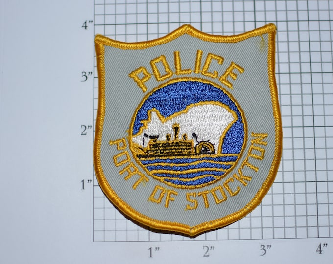 Port of Stockton (California) Police Obsolete Iron-on Embroidered Vintage Clothing Patch CA Uniform Shoulder Collectible Memorabilia Memento