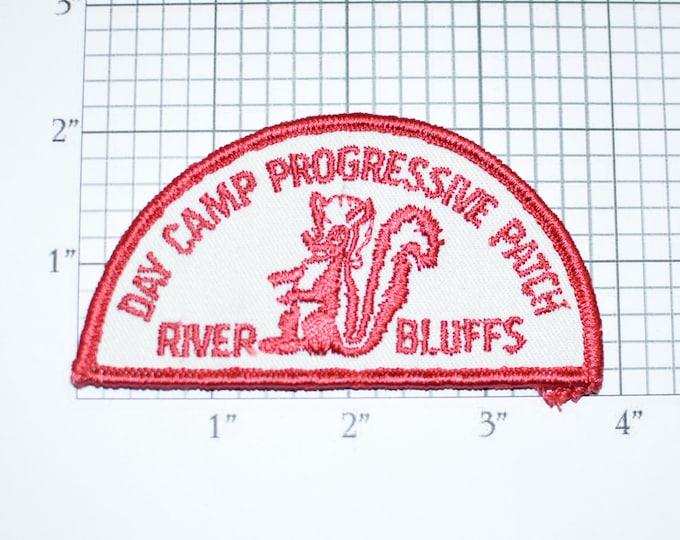 Day Camp Progressive Patch River Bluffs Embroidered Vintage Iron-on Applique Skunk Logo Collectible Keepsake Memorabilia Souvenir Badge