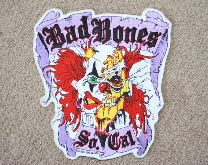 Bad Bones Southern California 1993 Iron-on Embroidered Patch Skeleton Clown Outlaw Biker Patch Jacket Patch Vest Patch MC Club Backpatch e1