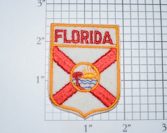 Florida State Flag FL Iron-On Vintage Embroidered Travel Patch Emblem Insignia Badge Trip Souvenir Gift Idea Collectible Keepsake Logo