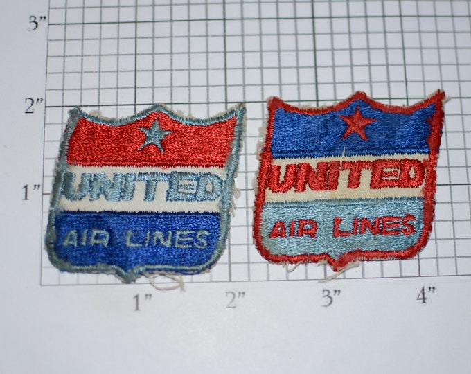 UNITED AIR LINES Very Rare Vintage Iron-On Patch Lot (2 Pieces) Corporate Uniform Insignia Unique Uncommon Rare Collectible Keepsake Crests