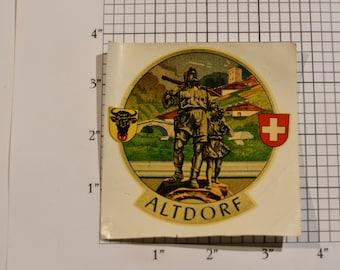 Altdorf, Canton of Uri (Switzerland) Vintage Sticker Decal Crest Trip Travel Souvenir Traveler Scrapbook Keepsake Memento Tourist Gift