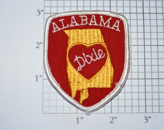ALABAMA DIXIE Iron-On Vintage Embroidered Clothing Patch Travel Trip Souvenir Collectible Logo Insignia by Voyager Emblems Scrapbook Idea