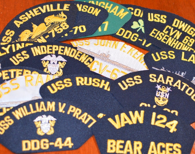 USS Iron-on Vintage Embroidered Patches (Each Sold Separately) Navy Ship Emblem Military Vet Veteran Gift Idea for Hat Scrapbook Memory Box