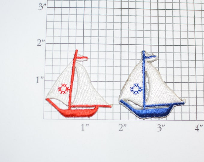 Lot of 2 Sailboat Iron-On Vintage Appliqué Patches - One each Red and Blue Sailing Captain Shirt Patch Hat Patch Backpack Patch Boating Logo