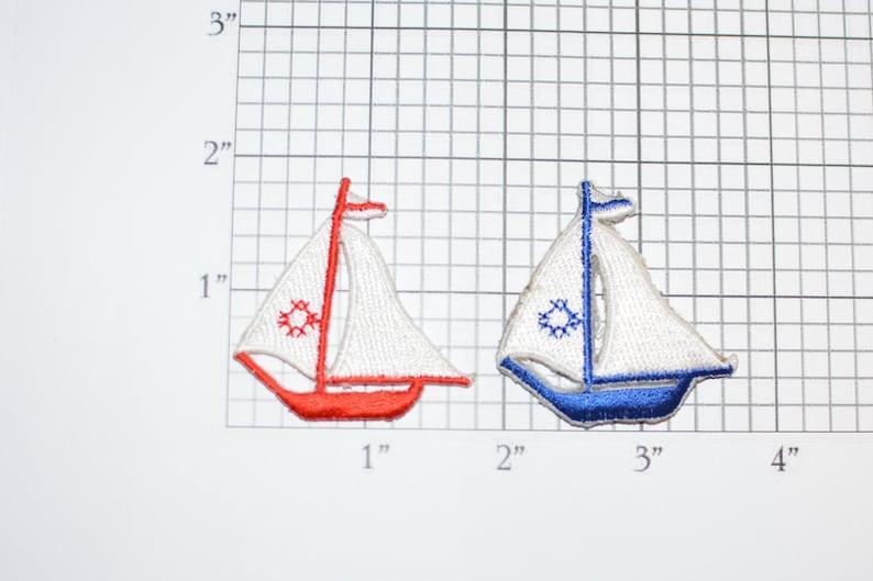 3e2953685057c Lot of 2 Sailboat Iron-On Vintage Appliqué Patches One each